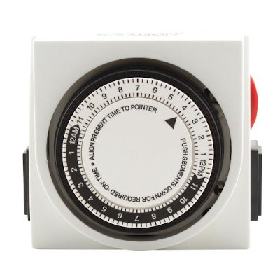 Two Outlet Mechanical Timer, for LED Grow Lights, Hydroponics or Indoor Gardening